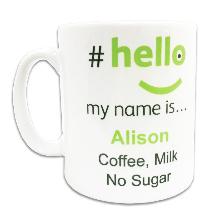 personalised hello my name is mug hellomynameisshop