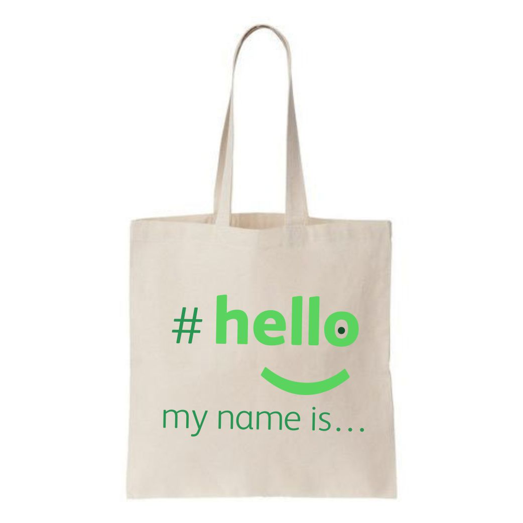 hello my name is shopping bag