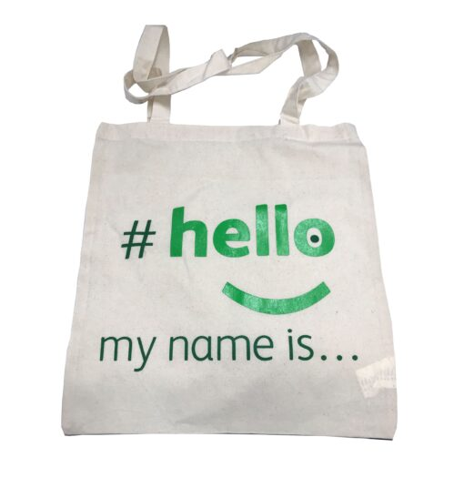 cotton bag hello my name is